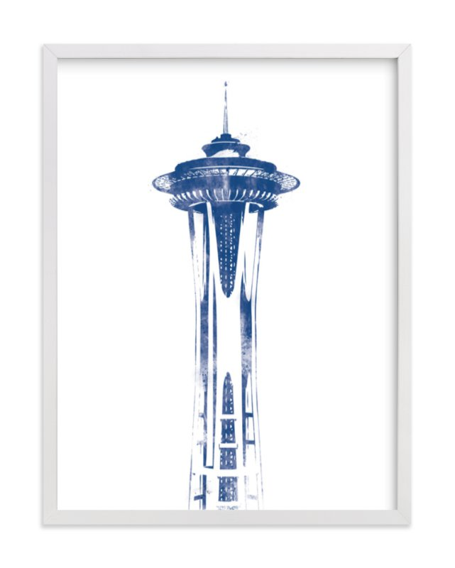 """""""Space Needle"""" - Limited Edition Art Print by Paul Berthelot in beautiful frame options and a variety of sizes."""