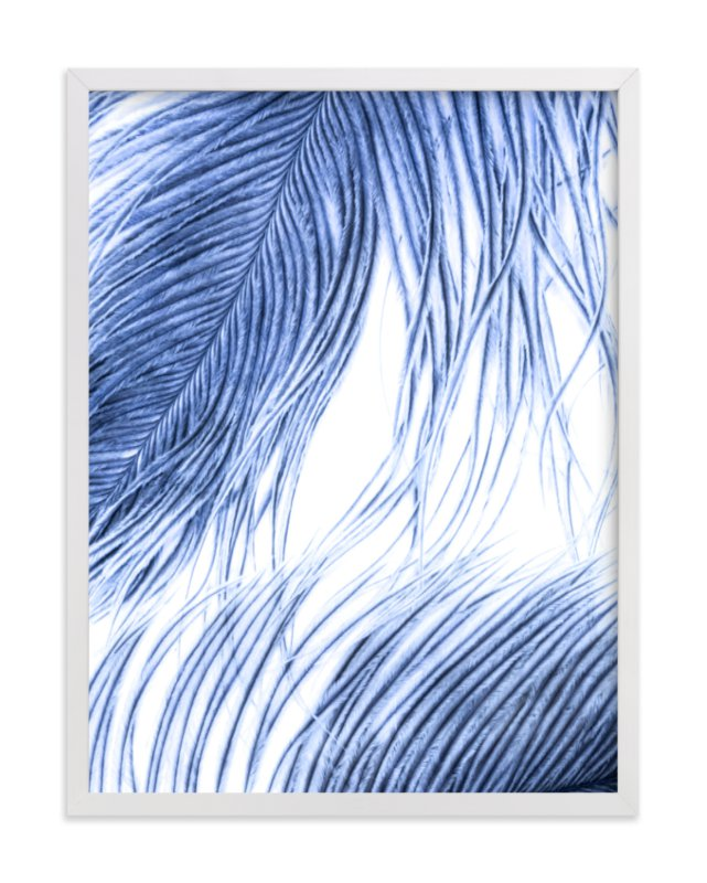 This is a blue art by Debra Pruskowski called Fine Feathered I with standard.