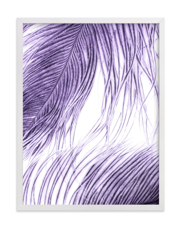 This is a purple art by Debra Pruskowski called Fine Feathered I.