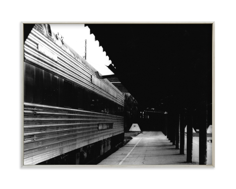 Black and White Train Platform Art Print