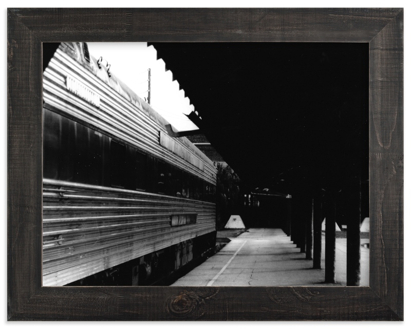"""""""Black and White Train Platform"""" - Limited Edition Art Print by Aquenne in beautiful frame options and a variety of sizes."""