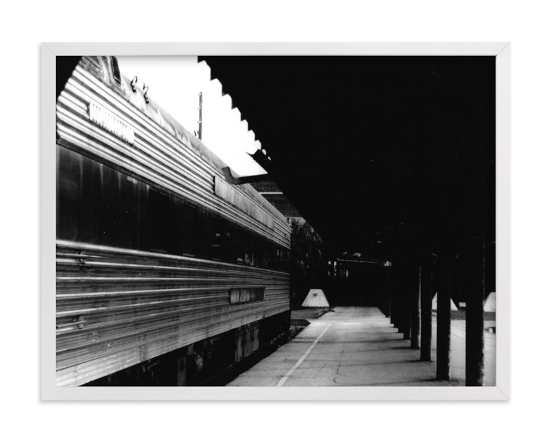 This is a black and white art by Aquenne called Black and White Train Platform with standard.