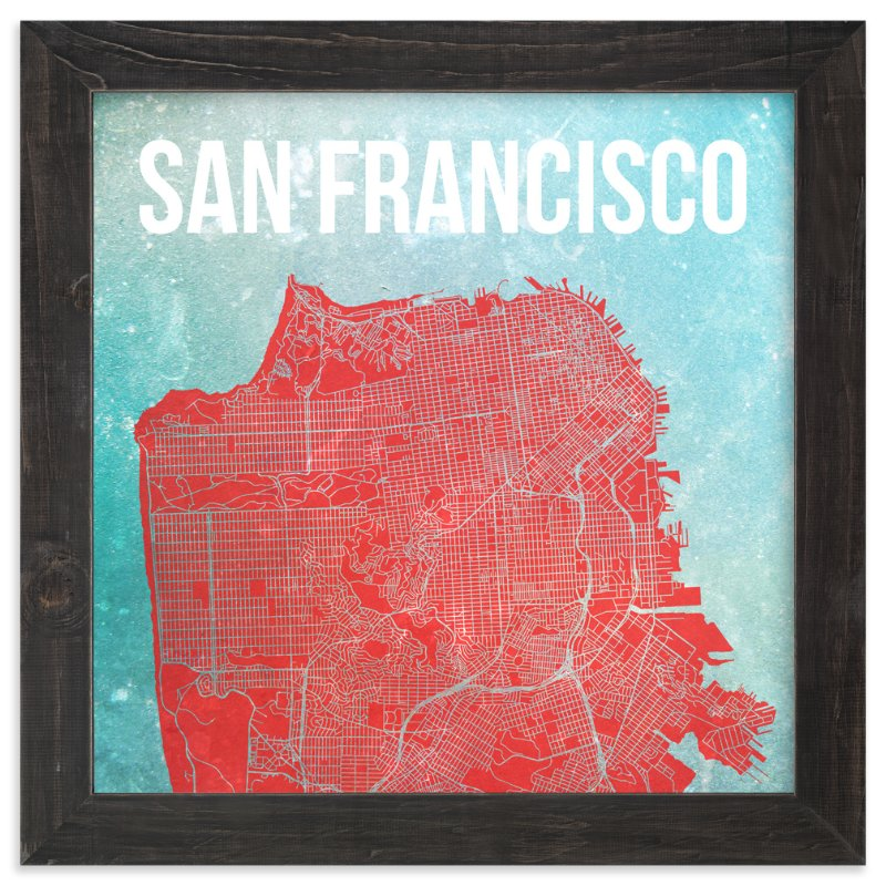 """""""Map of San Francisco"""" - Limited Edition Art Print by Alex Elko Design in beautiful frame options and a variety of sizes."""