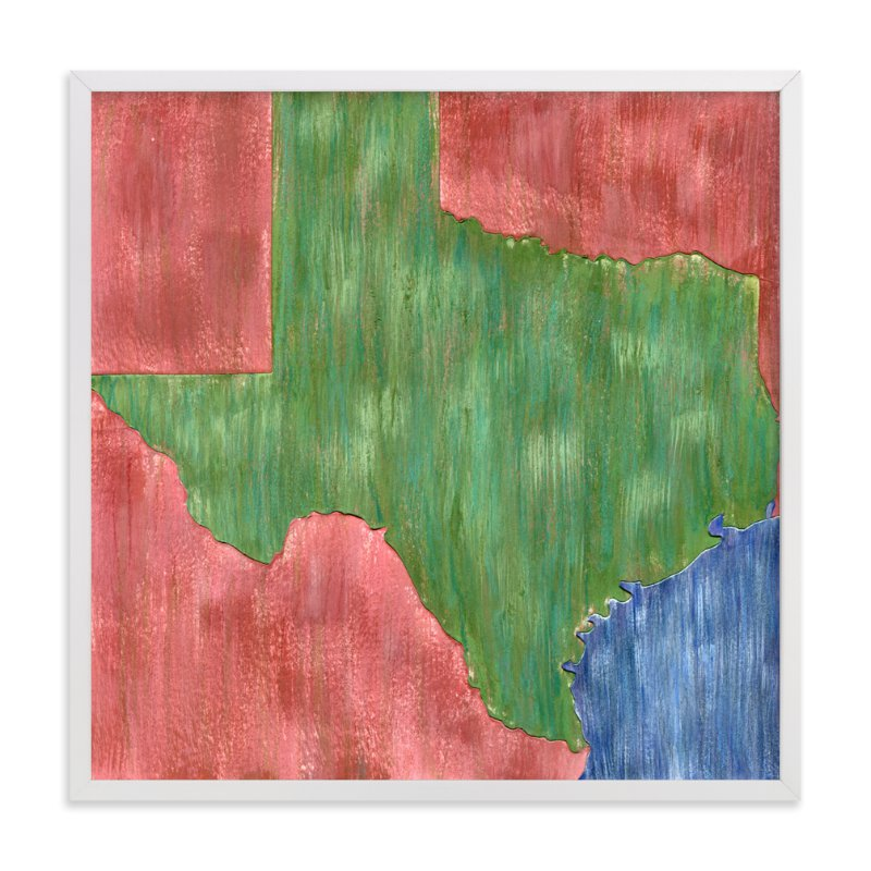 This is a blue art by Denise Wong called Texas in Paint.