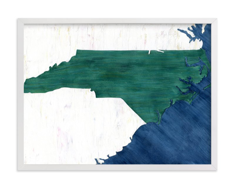 This is a blue art by Denise Wong called North Carolina in Paint.