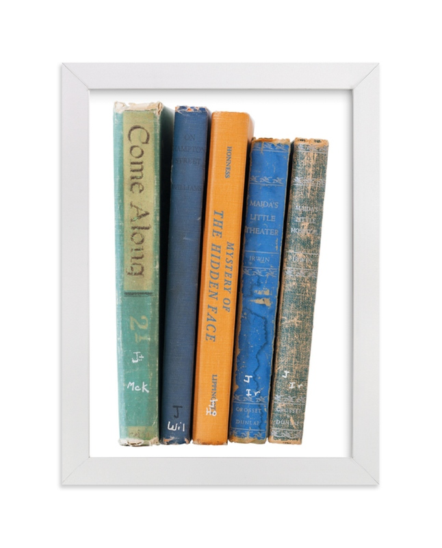 """Vintage Books"" - Limited Edition Art Print by That Girl Studio in beautiful frame options and a variety of sizes."