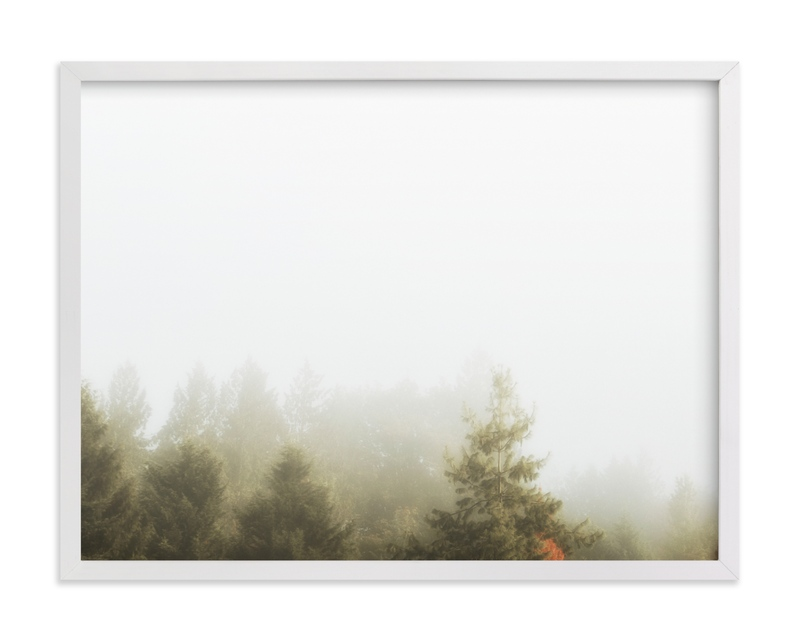 This is a grey art by Katie Buckman called Foggy Autumn Forest Morning.