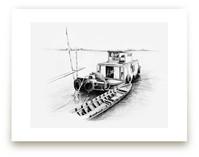 Sketchy Boat Art Prints