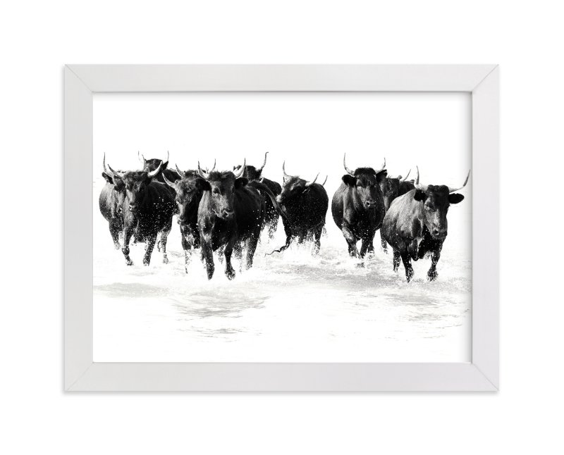 """Black Bulls of the Camargue"" - Limited Edition Art Print by Michelle Detering in beautiful frame options and a variety of sizes."