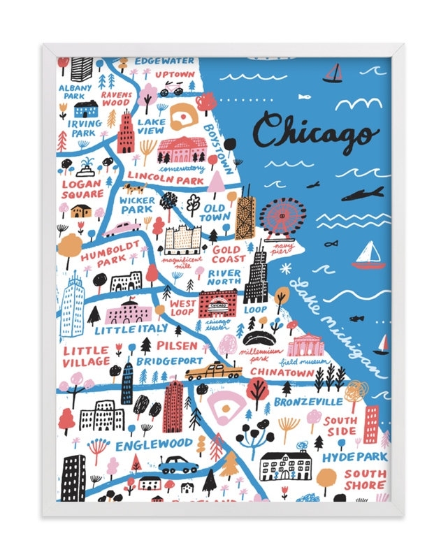 """""""I Love Chicago"""" - Limited Edition Art Print by Jordan Sondler in beautiful frame options and a variety of sizes."""