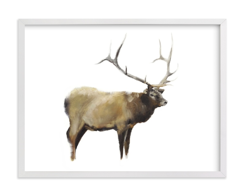 This is a brown art by Jacqueline Neuwirth called Elk Standing with standard.