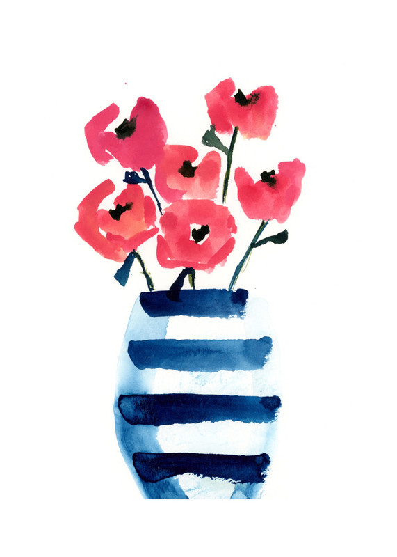 Striped Vase Wall Art Prints By Lindsay Megahed Minted