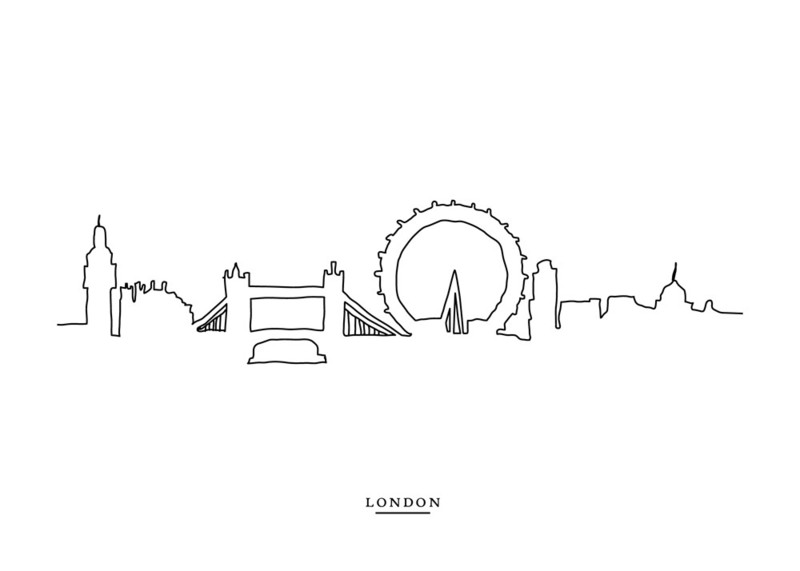 Line Drawing Tattoo London : Skyline line london wall art prints by cindy lackey minted