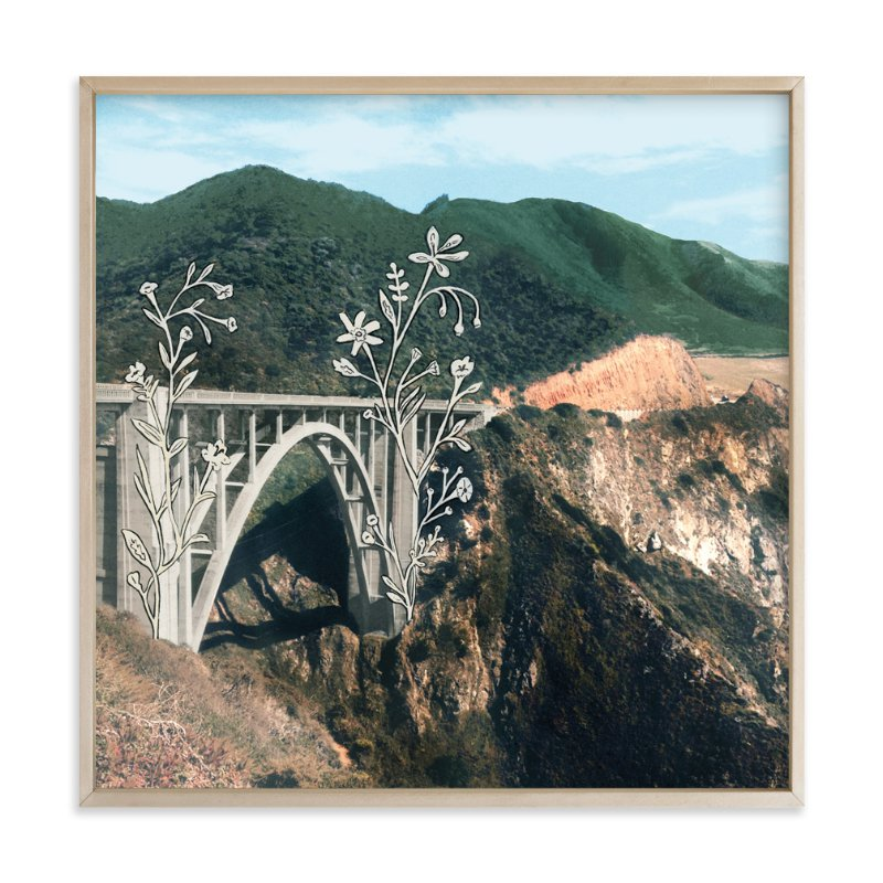 """Bixby Bridge Road Block"" - Limited Edition Art Print by Danielle Kroll in beautiful frame options and a variety of sizes."