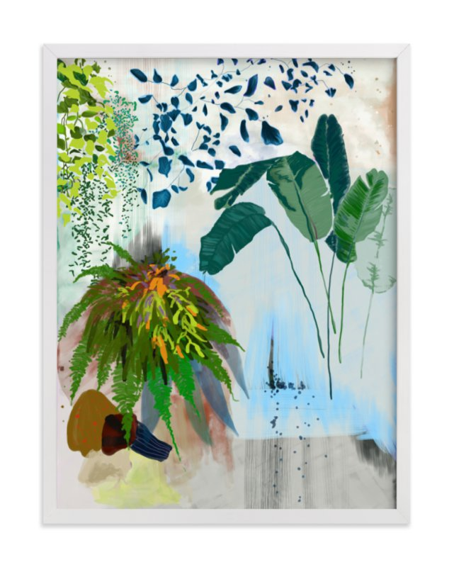 This is a blue art by Yanni Hui called A Composition of Plants.