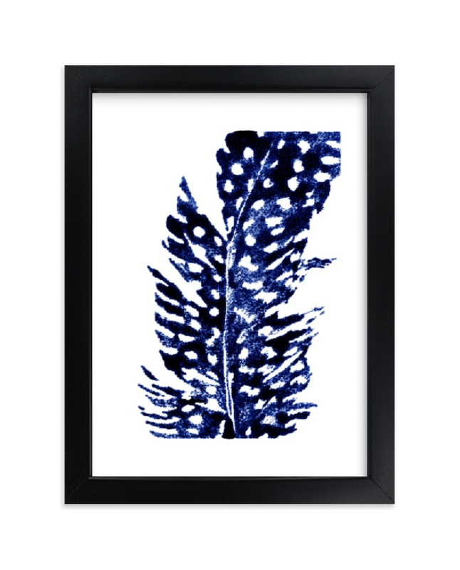 """Indigo Feather I"" - Limited Edition Art Print by Stephanie Toral in beautiful frame options and a variety of sizes."