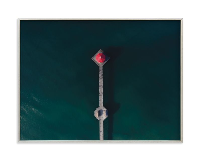 """""""HB Pier From Above"""" - Limited Edition Art Print by Christian Florin in beautiful frame options and a variety of sizes."""