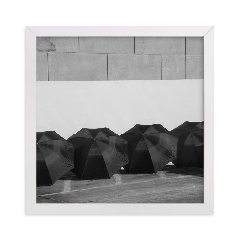 """""""Four Black Umbrellas"""" - Limited Edition Art Print by Jonathan Brooks in beautiful frame options and a variety of sizes."""