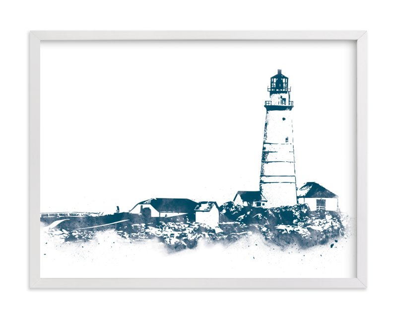 """""""Boston Light"""" - Limited Edition Art Print by Paul Berthelot in beautiful frame options and a variety of sizes."""