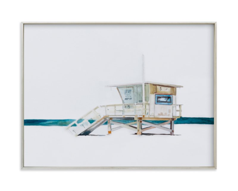 """Hermosa Beach Lifeguard Tower"" - Limited Edition Art Print by Viktoria Eperjesi in beautiful frame options and a variety of sizes."