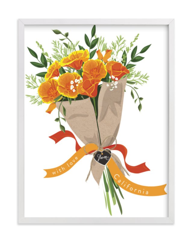 This is a white art by Susan Moyal called California Poppy Bouquet.