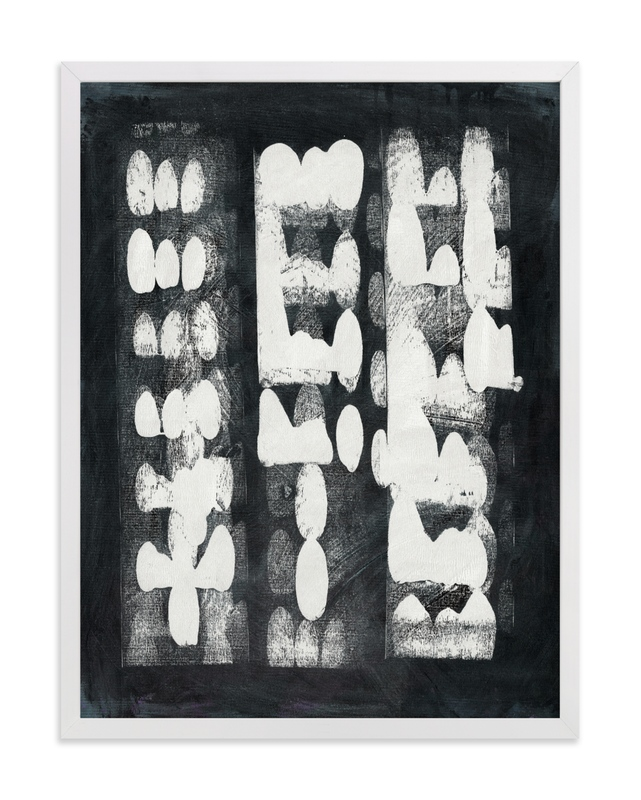 This is a black and white art by Lorent and Leif called Domino Effect.