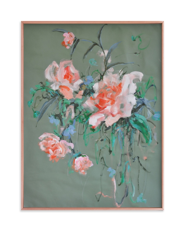 """""""Arrangement in Rose & Teal"""" - Limited Edition Art Print by Sonal Nathwani in beautiful frame options and a variety of sizes."""