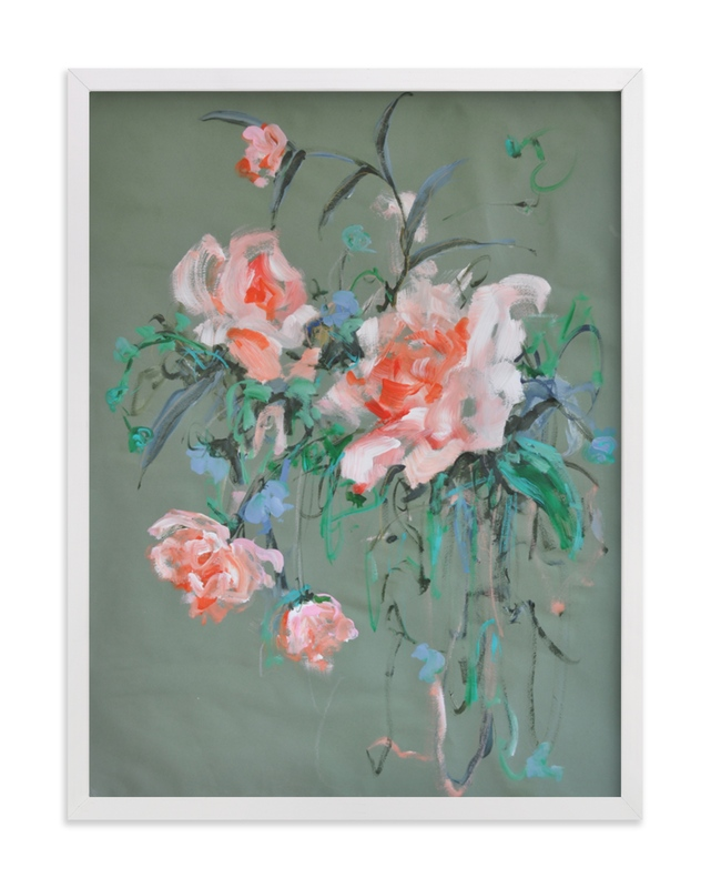This is a pink art by Sonal Nathwani called Arrangement in Rose & Teal.