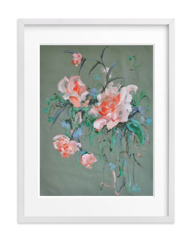 Arrangement in Rose & Teal Art Print