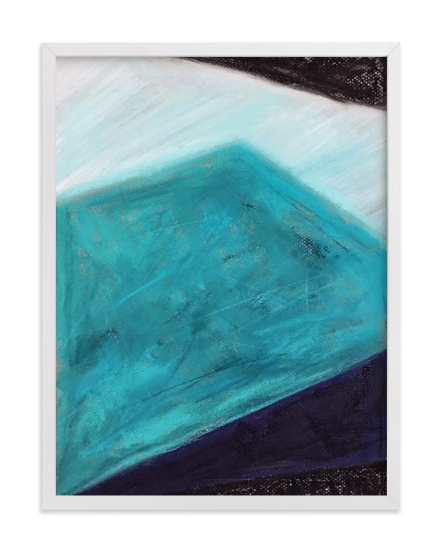 """""""Iceberg Blues Geometric Pastel Drawing"""" - Limited Edition Art Print by Melanie Biehle in beautiful frame options and a variety of sizes."""