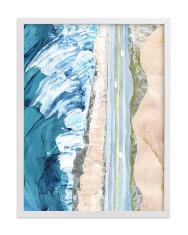 This is a blue art by Denise Wong called Pacific Coast Highway with standard.