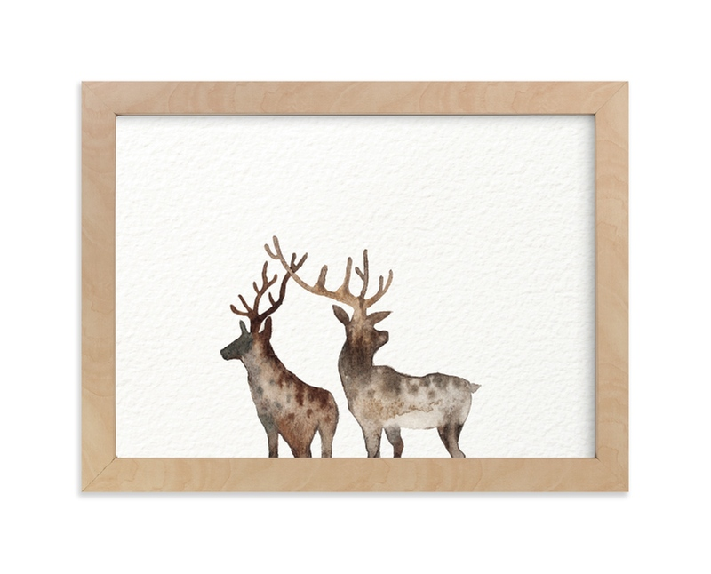 """""""Merry Christmas, Comet & Cupid """" - Limited Edition Art Print by jinseikou in beautiful frame options and a variety of sizes."""
