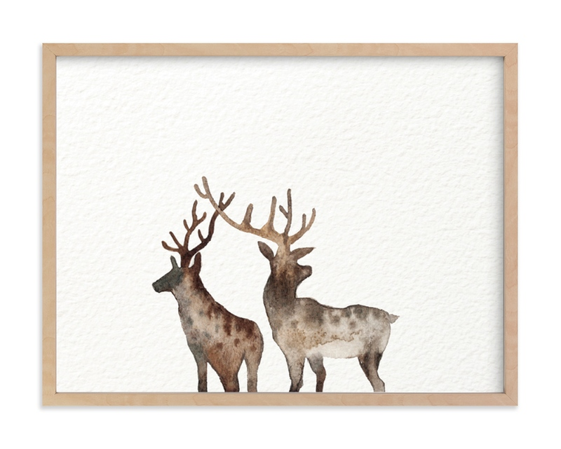 """Merry Christmas, Comet & Cupid "" - Limited Edition Art Print by jinseikou in beautiful frame options and a variety of sizes."