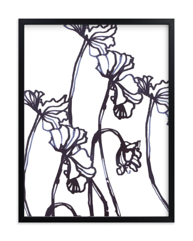 """""""Ink Cyclamen"""" - Limited Edition Art Print by Sonal Nathwani in beautiful frame options and a variety of sizes."""