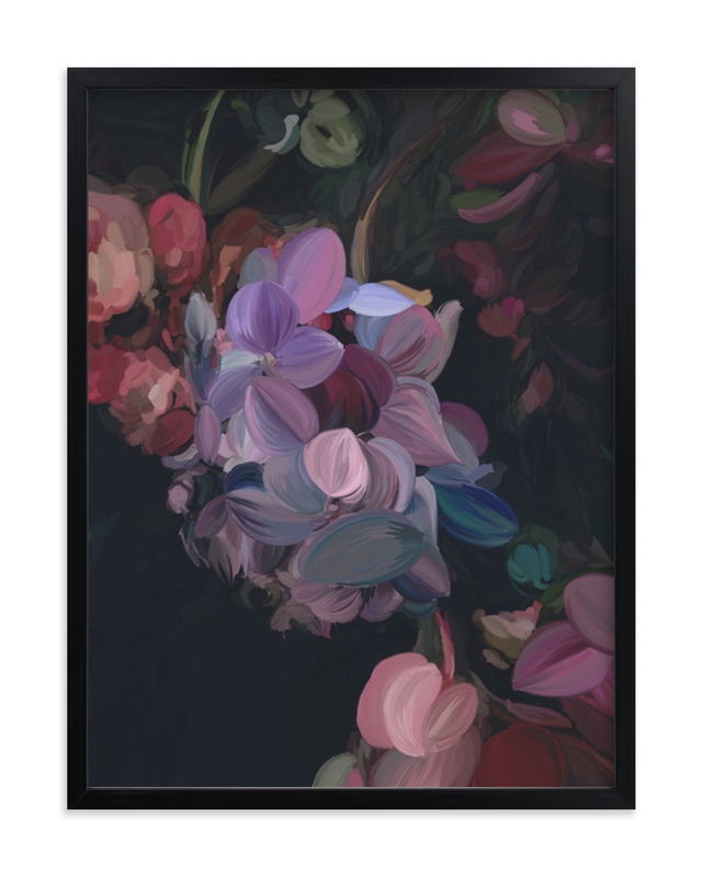 """Midnight Petals"" - Limited Edition Art Print by Amy Hall in beautiful frame options and a variety of sizes."