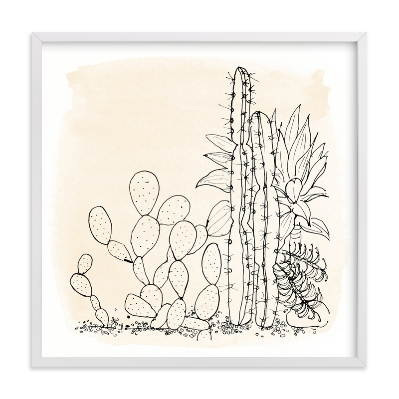 """""""my cactus garden"""" - Grownup Open Edition Non-custom Art Print by Qing Ji in beautiful frame options and a variety of sizes."""