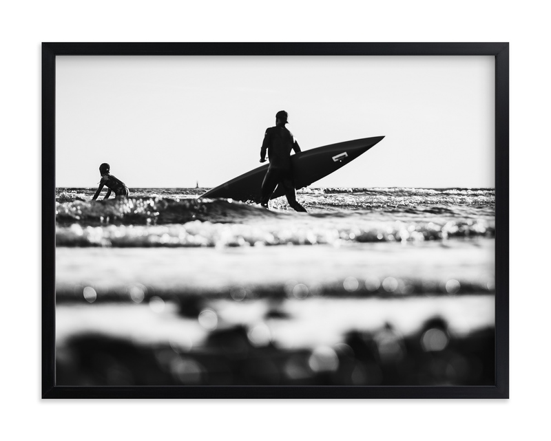 """Surf in Black and White"" - Grownup Open Edition Non-custom Art Print by Kira Noel Oschipok in beautiful frame options and a variety of sizes."