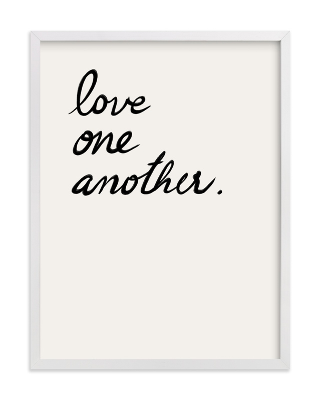 This is a black and white art by Maja Cunningham called Love one, Love all.