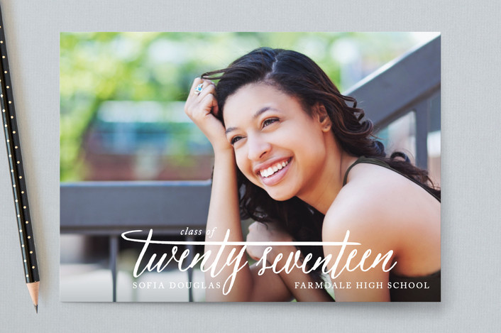 """""""20 Sixteen"""" - Full-Bleed Photo, Classical Graduation Announcement Postcards in Cotton by Ellis."""