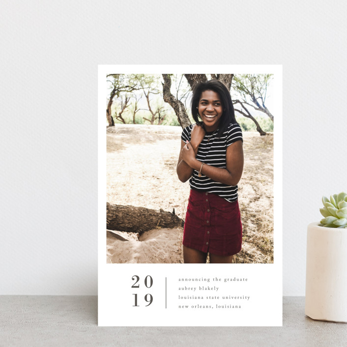 """Stacked Banner"" - Graduation Announcement Postcards in Cotton by Amy Kross."