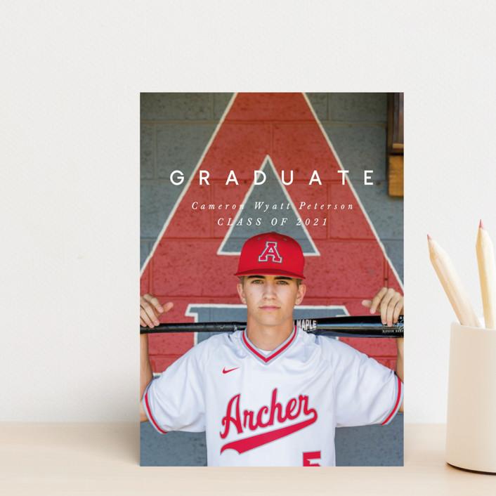 """Simple Grad"" - Modern Graduation Announcement Postcards in Dusty Grey by Still and Mundane."