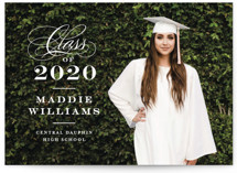 This is a white graduation announcement postcard by Jennifer Wick called Stacked class with standard printing on signature in postcard.