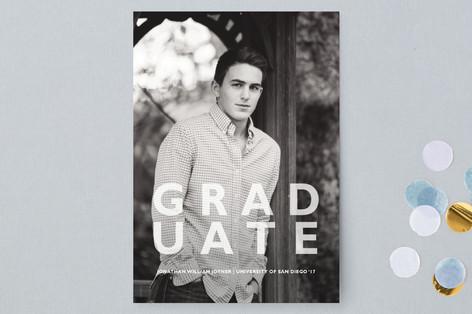 Block Letter Design Graduation Announcement Postcards