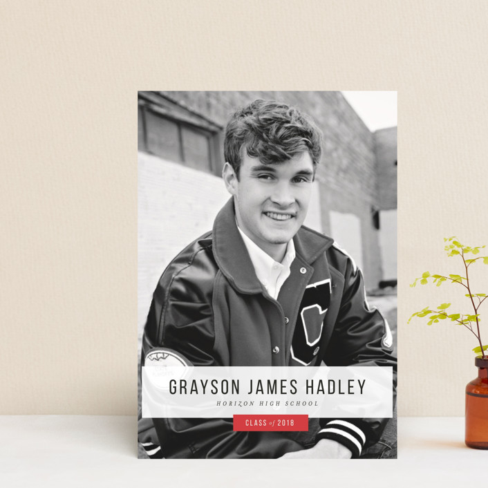 """""""Simply Tagged"""" - Graduation Announcement Postcards in Crimson by Cait Trainor."""
