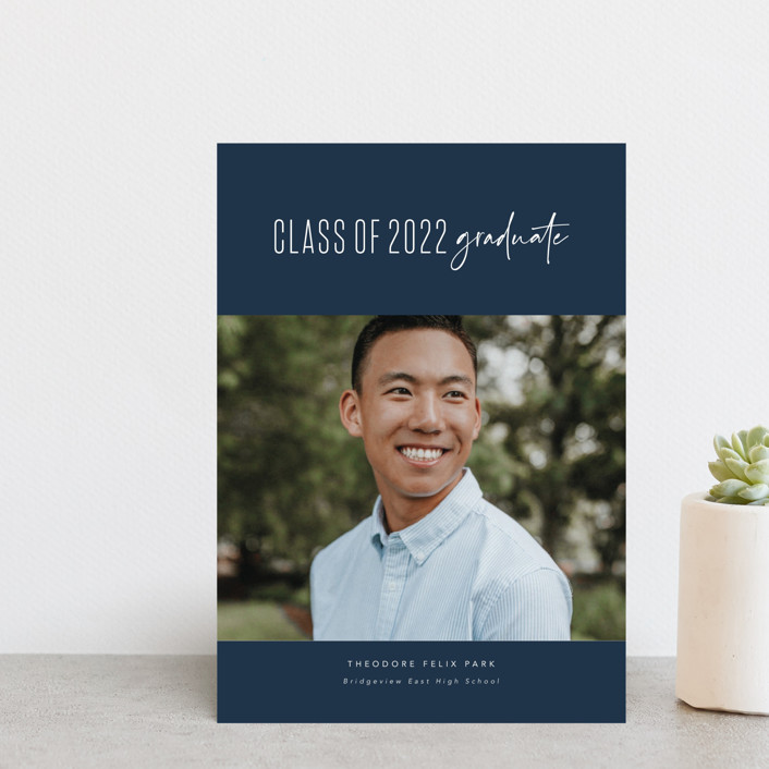 """""""One and done"""" - Funny, Preppy Graduation Announcement Postcards in Jeans by Lea Delaveris."""