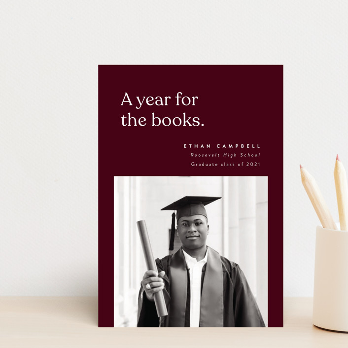 """""""For the Books"""" - Funny Graduation Announcement Postcards in Merlot by Corinne Malesic."""