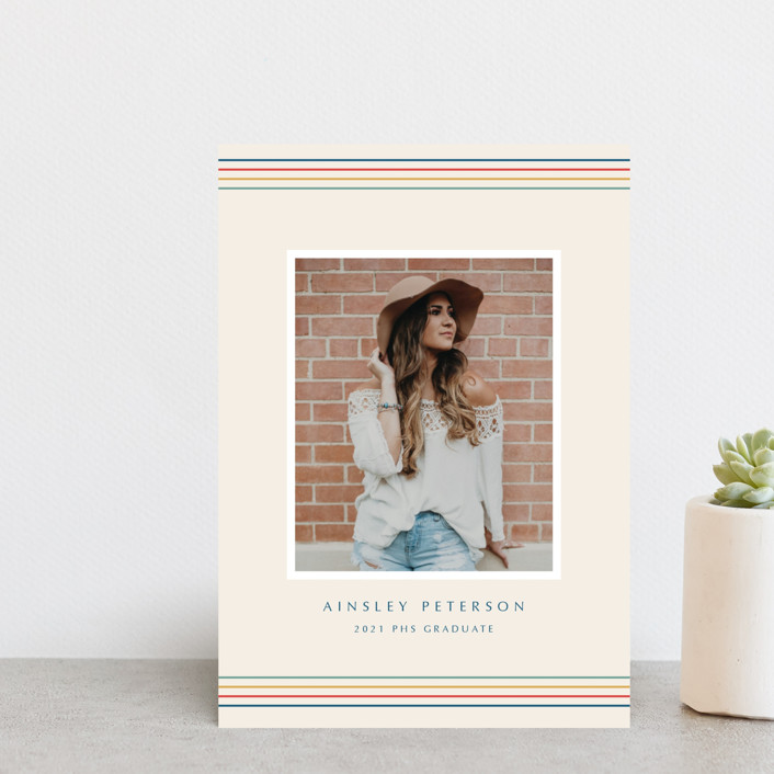 """Flash Back Grad"" - Graduation Announcement Postcards in Sand by Danie Romrell."