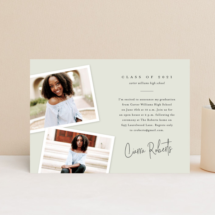 """""""Personal invite"""" - Modern, Preppy Graduation Announcement Postcards in Tan by Stacey Meacham."""