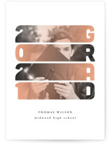 This is a orange graduation announcement invitation by Anastasia Makarova called Gradient with standard printing on signature in postcard.