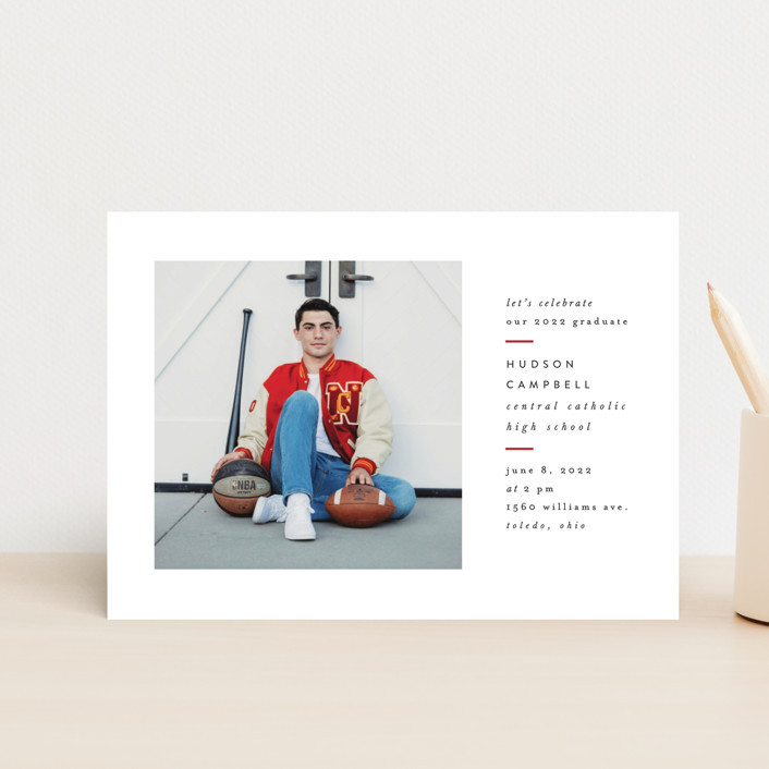 """""""Modern Varsity"""" - Graduation Announcement Postcards in Crimson by Ally Madison."""